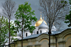 St. Sophia ancient cathedral in Veliky Novgorod, Russia in cloudy day Royalty Free Stock Images