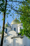 St. Sophia ancient cathedral in Veliky Novgorod, Russia at summer sunset Royalty Free Stock Images