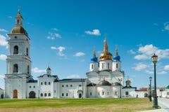St Sophia-Assumption Cathedral in Tobolsk Kremlin. Tobolsk Kremlin complex. Belltower and St Sophia-Assumption Cathedral. 1587 foundation year Stock Image