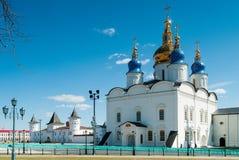 St Sophia-Assumption Cathedral in Tobolsk Kremlin. Tobolsk Kremlin complex. Guests Yard and St Sophia-Assumption Cathedral. 1587 foundation year Stock Images