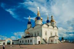 St Sophia-Assumption Cathedral in Tobolsk Kremlin. Tobolsk, Russia - July 15, 2016: Kremlin complex. St Sophia-Assumption Cathedral and belltower 1587 foundation Royalty Free Stock Images
