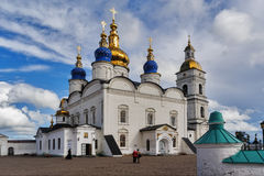 St Sophia-Assumption Cathedral in Tobolsk Kremlin. Tobolsk, Russia - July 15, 2016: Kremlin complex. St Sophia-Assumption Cathedral and belltower 1587 foundation Stock Photos