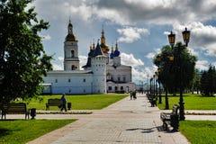 St Sophia-Assumption Cathedral in Tobolsk Kremlin. Tobolsk, Russia - July 15, 2016: Kremlin complex. Guests Yard and St Sophia-Assumption Cathedral. 1587 Stock Photography