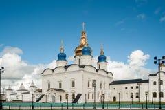St Sophia-Assumption Cathedral in Tobolsk Kremlin. Tobolsk, Russia - July 15, 2016: Kremlin complex. Group of tourists near St Sophia-Assumption Cathedral and Stock Image