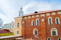 St Sophia cathedral belfry and Archbishop`s palace building, the Palace of facets museum in Veliky Novgorod, Russia. Veliky Novgorod,Russia - April 29,2018. St stock photo