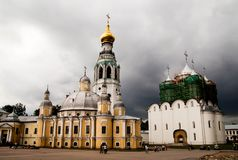 St. Sophia Cathedral, Belfry of St. Sophia Cathedral, Vologda Kremlin. Vologda, Russia. Types of Vologda. Postcards stock photography