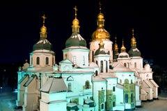St Sophia Cathedral bij nacht kiev Royalty-vrije Stock Foto