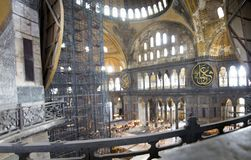 St Sophia Cathedral binnen Het museum in Istanboel stock fotografie
