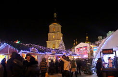 St. Sophia Cathedral, Christmas market, Kyiv, Ukraine Royalty Free Stock Images