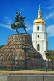 St Sophia Cathedral en monument aan Khmelnitsky Stock Fotografie