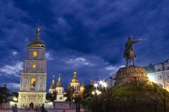 St. Sophia Cathedral in the evening with a monument to Bogdan Khmelnitsky stock photography