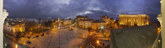 St. Sophia Cathedral and the house of Ministers. Panorama of the evening from the balcony of the capital's famous bell tower of St. Sophia Cathedra, the Ministry Royalty Free Stock Photo
