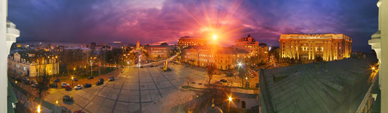 St. Sophia Cathedral and the house of Ministers. Panorama of the evening from the balcony of the capital's famous bell tower of St. Sophia Cathedra, the Ministry Royalty Free Stock Image