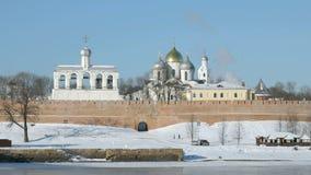 St Sophia Cathedral i Veliky Novgorod, Ryssland lager videofilmer