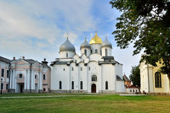St. Sophia Cathedral In Veliky Novgorod, Russia At Summer Cloudy Evening Royalty Free Stock Images