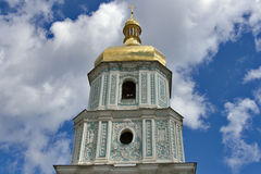 St.Sophia Cathedral in Kiev. Top part of bell tower of the orthodox St.Sophia Cathedral in Kiev, Ukraine stock photography