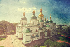 St. Sophia Cathedral.Kiev Ukraine. Picture in artistic retro style royalty free stock image