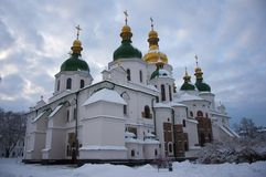 St. Sophia Cathedral in Kiev on a winter day. St. Sophia Cathedral in Kiev. A monument of ancient architecture on a winter day. snowy weather stock photography