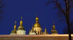 St. Sophia Cathedral in Kiev, winter. Domes of St. Sophia Cathedral in Kiev, winter evening Stock Photos