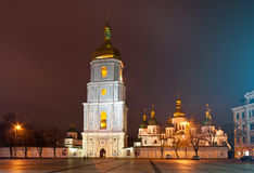 St. Sophia Cathedral in Kyiv, Ukraine. Ancient St. Sophia Cathedral in Kyiv, Ukraine. Night scene stock image