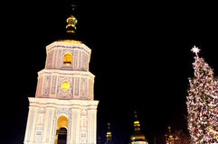 St. Sophia Cathedral and main Kyiv's New Year tree, Kyiv Stock Photography