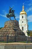 St Sophia Cathedral and monument to Khmelnitsky. St Sophia Cathedral and monument to Bogdan Khmelnitsky in Kiev, Ukraine stock photography