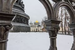 St Sophia Cathedral nell'inverno Veliky Novgorod, Russia immagine stock libera da diritti