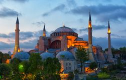 St. Sophia Cathedral. On a sunset, Istanbul stock image