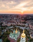 St. Sophia Cathedral at sunset in Kiev, Ukraine. Aerial view of St. Sophia Cathedral at sunset in Kiev, Ukraine. Tourist Sight. Ukrainian baroque stock photography