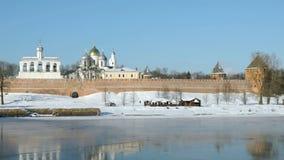 St Sophia Cathedral in Veliky Novgorod, Russia video d archivio