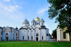 St Sophia cathedral in Veliky Novgorod, Russia at summer cloudy evening Royalty Free Stock Images