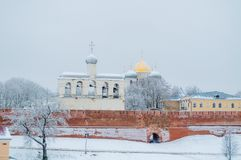 St Sophia Cathedral in Veliky Novgorod, Russia - winter architectural landscape. Veliky Novgorod, Russia. St Sophia Orthodox Cathedral with the belfry among the royalty free stock photo