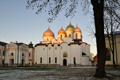 St Sophia cathedral in Veliky Novgorod, Russia - winter sunset landscape Royalty Free Stock Photo