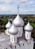 St. Sophia Cathedral in Vologda. The domes of St. Sophia Cathedral in Vologda, bird's-eye view royalty free stock photos