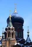 St. Sophia Church Harbin. St. Sophia church is one of the most famous buildings in Harbin, north of China. The Byzantine style church attracts a lot of tourist Royalty Free Stock Photo