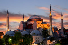 St. Sophia (Hagia Sophia) museum at sunset in Istanbul,. Turkey Stock Images