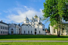 St. Sophia old cathedral in Veliky Novgorod, Russia at summer evening Stock Images