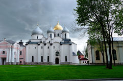 St. Sophia old Orthodox cathedral in cloudy summer day in Veliky Novgorod, Russia Stock Photo