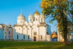 St Sophia Russian Orthodox cathedral at sunny autumn evening in Veliky Novgorod, Russia - architecture landscape Stock Photo