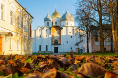 St Sophia cathedral at sunny autumn evening in Veliky Novgorod, Russia - architecture autumn landscape Stock Photos
