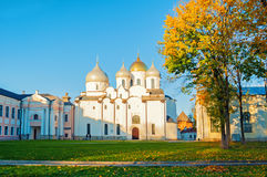St Sophia Russian Orthodox cathedral at sunny autumn evening in Veliky Novgorod, Russia - architecture landscape Royalty Free Stock Photos