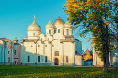 St Sophia Russian Orthodox cathedral at sunny autumn evening in Veliky Novgorod, Russia Royalty Free Stock Photo