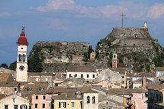 St. Spiridon church and old fortress Corfu island Stock Image