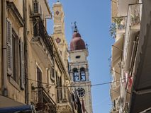St Spiro Church in Corfu town on the Island of Corfu. The city of Corfu stands on the broad part of a peninsula, whose termination in the Venetian citadel is cut Royalty Free Stock Images
