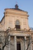 St Stanislaus教会在谢德尔采在波兰 免版税库存图片