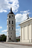 St. Stanislaus Cathedral and bell tower in the square of Vilnius Royalty Free Stock Image