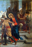1st Stations of the Cross, Jesus is condemned to death Royalty Free Stock Images