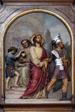 1st Stations of the Cross, Jesus is condemned to death. Basilica of the Sacred Heart of Jesus in Zagreb, Croatia stock image
