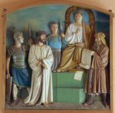 1st Stations of the Cross, Jesus is condemned to death. Church of the Blessed Aloysius Stepinac in Budasevo, Croatia Royalty Free Stock Image