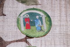 1st Stations of the Cross, Jesus is condemned to death Royalty Free Stock Photos